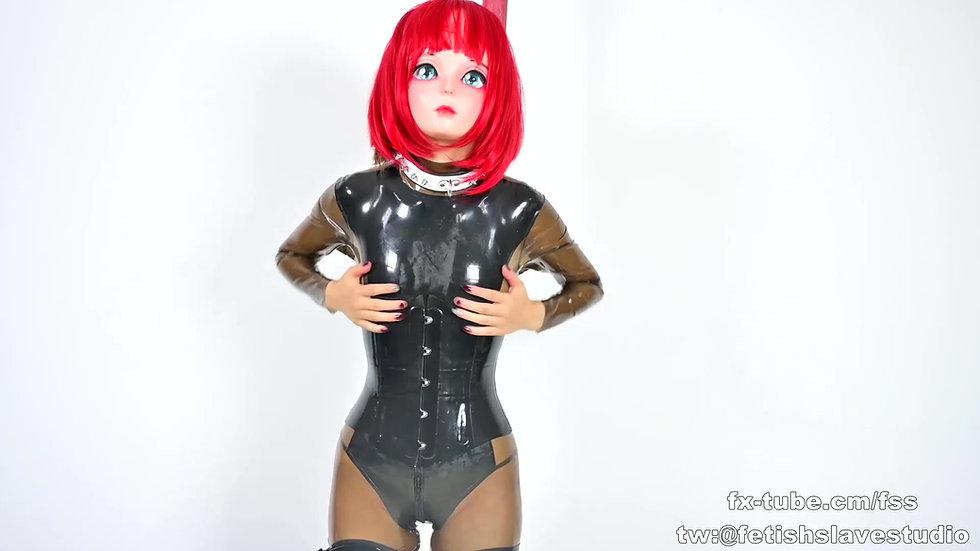 [DOVE] Red hair latex kigurumi plastic breathplay