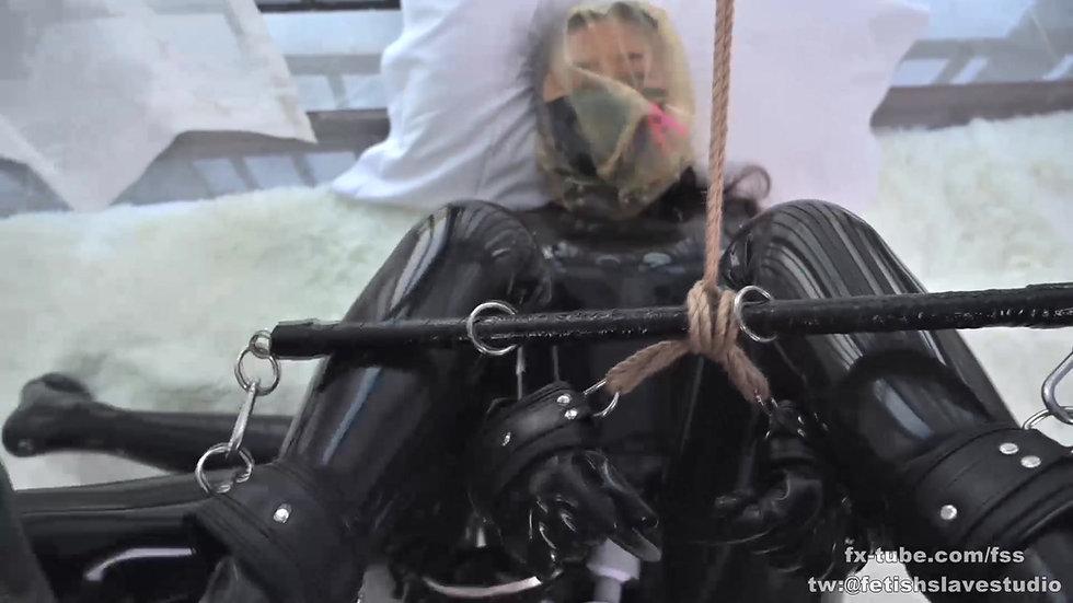 Latex lesbian rope bondage game part 1