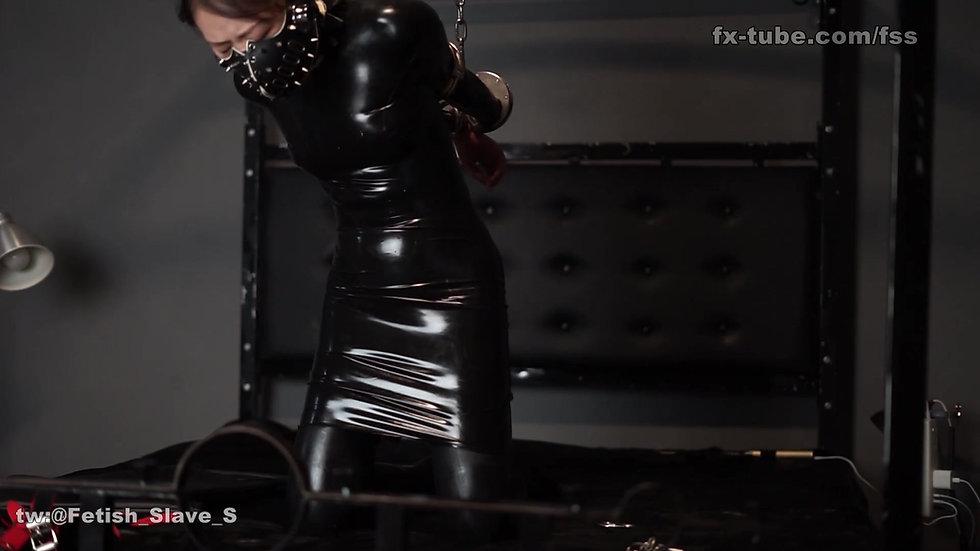 Latex cute slave spank and bondage