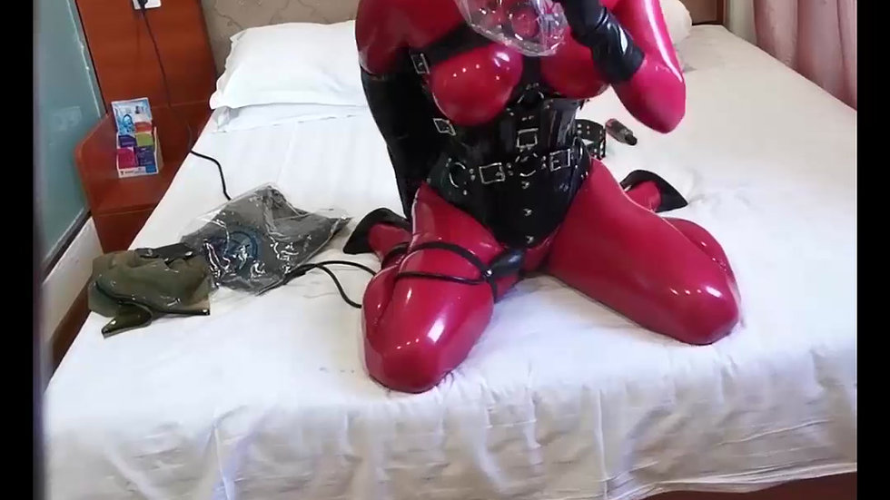 Red Hair Latex Kigurumi Breathplay and Bondage