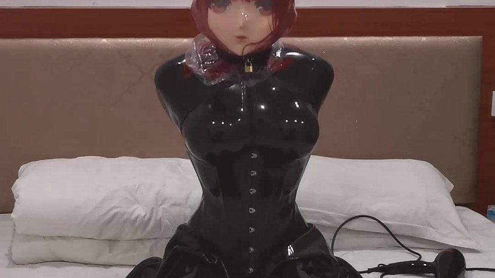 Red Hair Latex Kigurumi Breathpaly