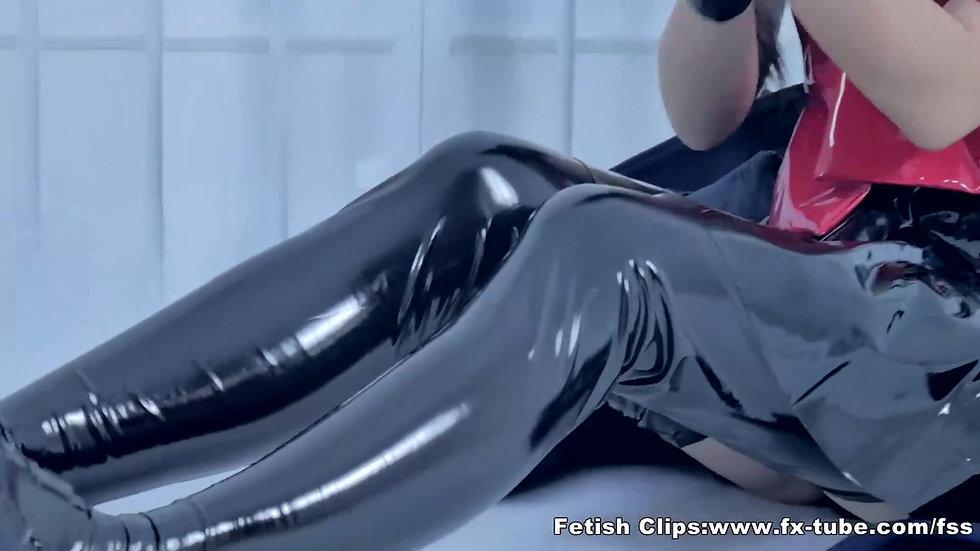 PVC fetish JK masturbating orgasm
