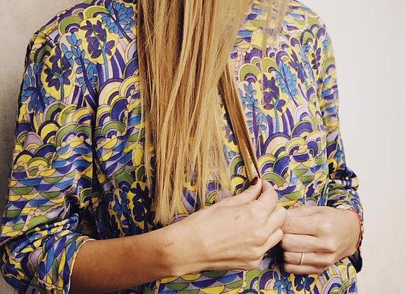 Blusa vintage en tono morado y amarillo limón.