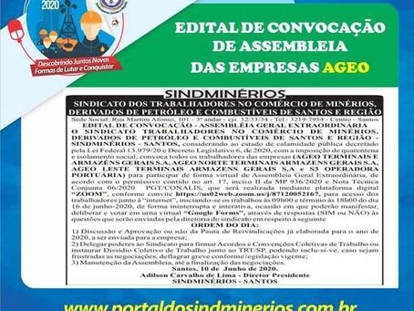 Convocação de Assembleia Geral aos (as) Trabalhadores (as) das Empresas Ageo