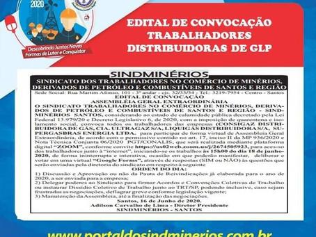 Sindminérios Santos convoca os Trabalhadores (as) das Distribuidoras de GLP