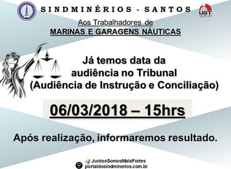 DATA DA AUDIÊNCIA - MARINAS E GARAGENS NÁUTICAS