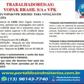 Convocatória urgente aos trabalhadores das empresas Vopak Brasil e VPK