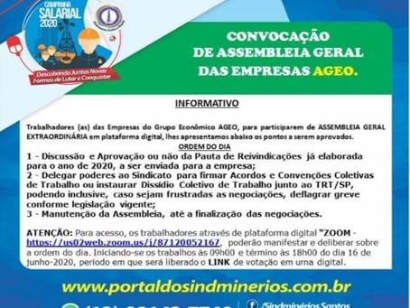 Informativo com as orientações para Assembleia Geral dos Trabalhadores (as) das Empresas AGEO