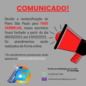 Comunicado - Fase Vermelha