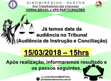 DATA DA AUDIÊNCIA – VOPAK BRASIL e VPK
