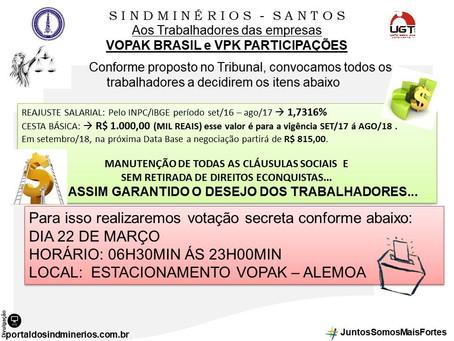AOS FUNCIONÁRIOS DAS EMPRESAS VOPAK e VPK