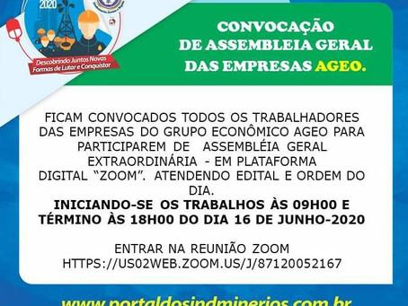 O Sindminérios Santos informa a abertura da Assembleia Geral Extraordinária das Empresas Ageo