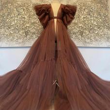 Ruffled Floor Length Robe (brown) Rental Fee: $35.00
