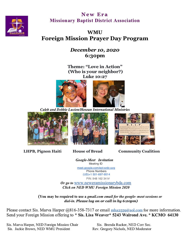 2020  Foreign Mission Prayer Day   Annou