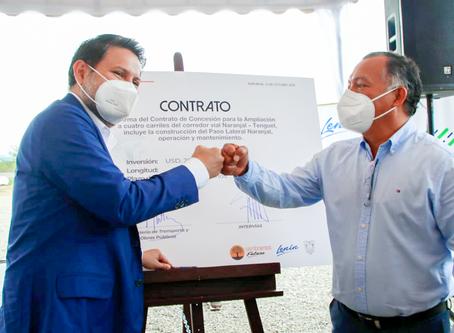 Se firmó concesión para ampliación de tramo vial Naranjal - Tenguel