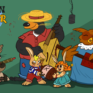 A bluegrass band of Appalachian woodland animals.