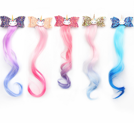 HISUM Glitter Hair Bows Clips with Wig