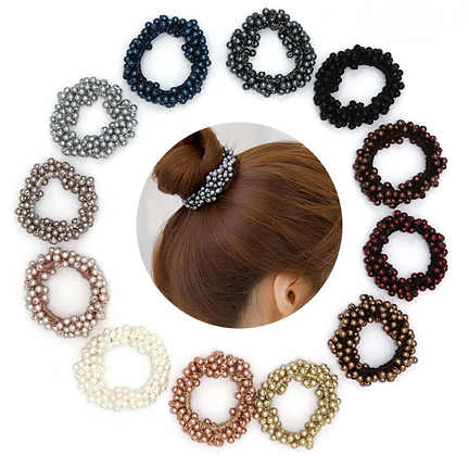 HISUM assorted colors scrunchies with pearls hair ties
