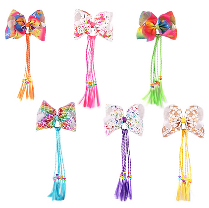 HISUM Hair Bows Clips with Wig