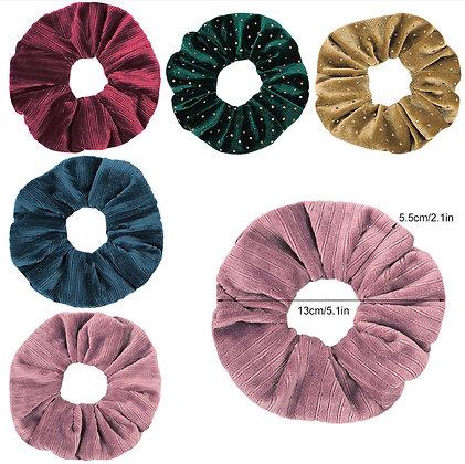 HISUM velvet scrunchies hair bands with bling decoration