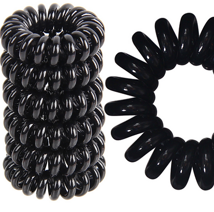 HISUM black 3.5cm hair bobbles, spiral hair ties