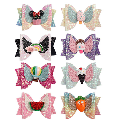 HISUM Unicorn Glitter Hair Bows