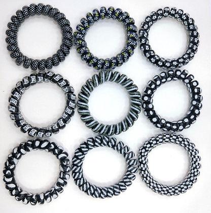 HISUM black 5cm hair bobbles, spiral hair ties