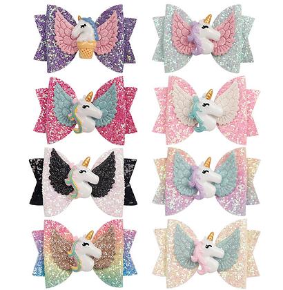 HISUM Unicorn Glitter Hair Bows