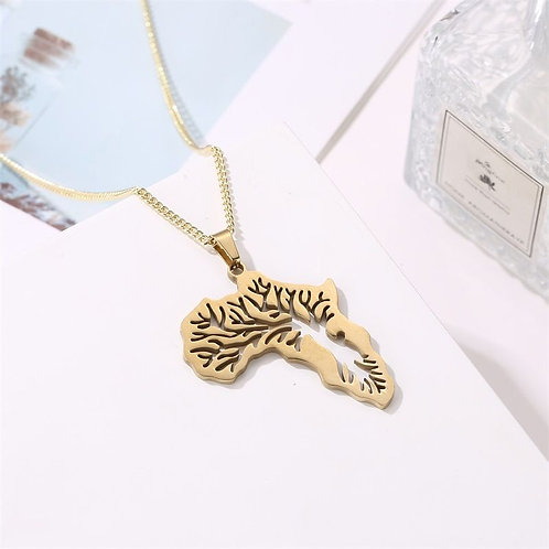 Stainless steel gold necklace with pendant