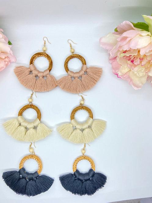 Rattan inspired tassel earring