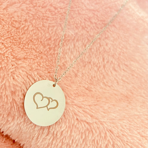 Silver double heart pendant