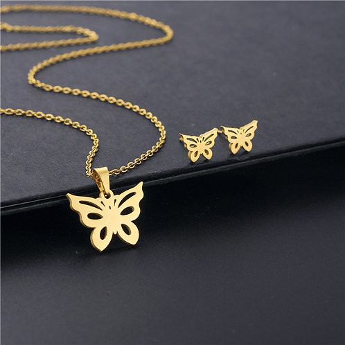 Gold butter fly earring and necklace with pendant