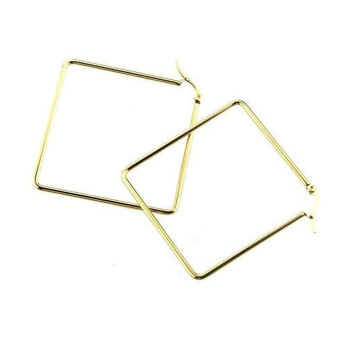 stainless steel gold 2.5 inches gold hoop earrings.