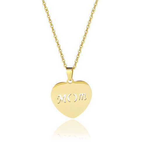 Gold stainless steel metal mom necklace with pendant