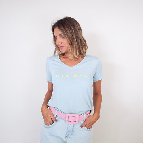 T-Shirt Viscolaycra Gola V - Minimal - Azul Candy