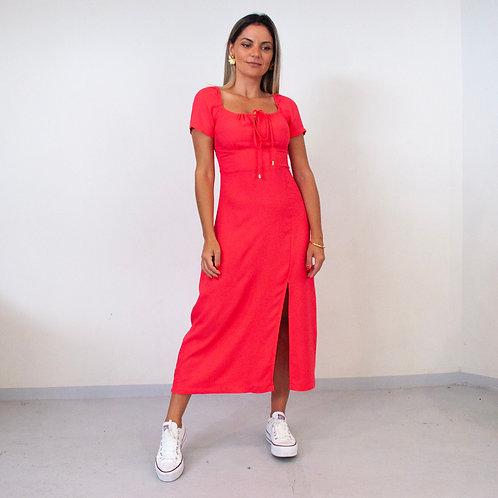 Vestido Sally Crepe Mouse - Goiaba