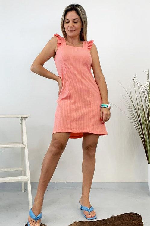 Vestido Canelado FruFru - Rosê