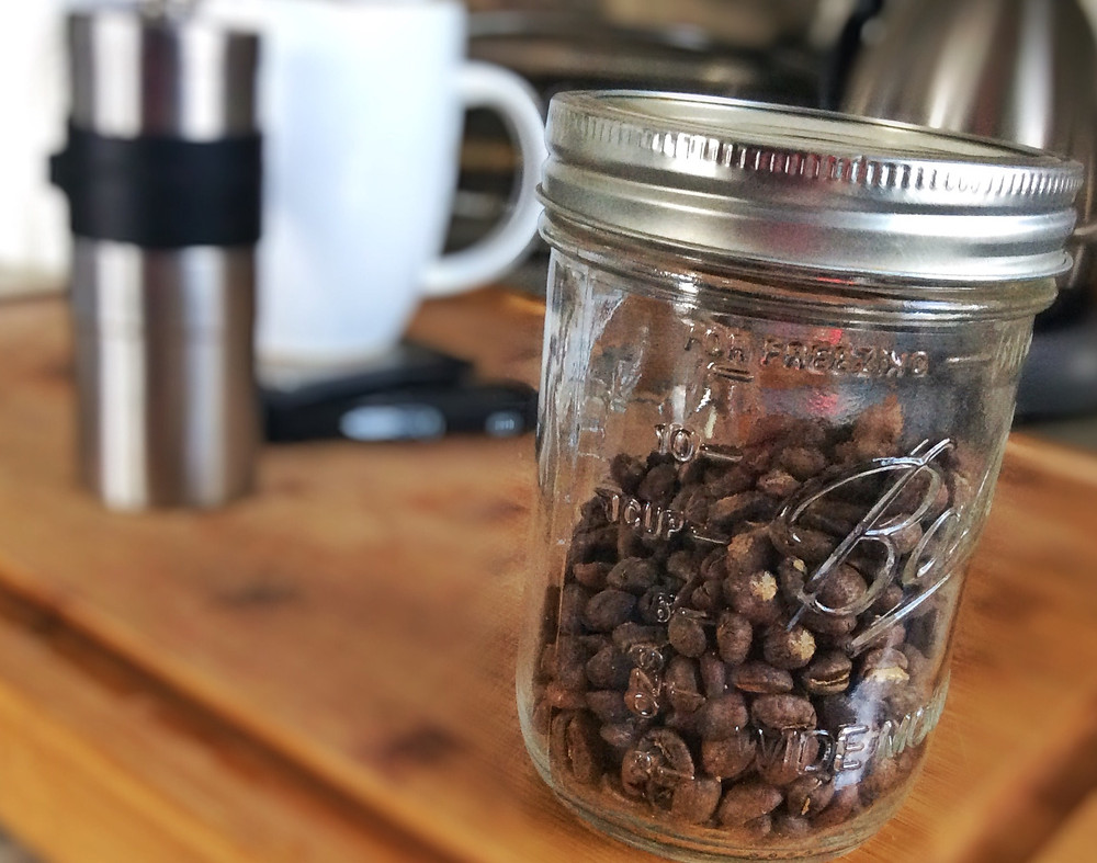 Canning jar coffee storage
