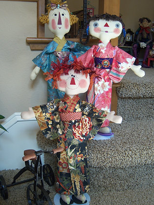 3 Primitive Raggedy Sisters in Kimono (Pattern)