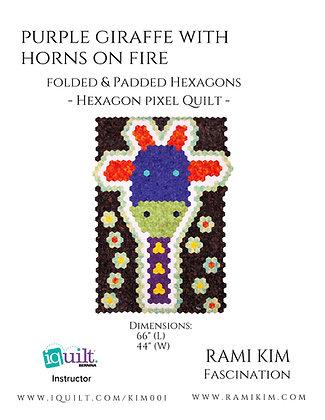 """Purple Giraffe with Horns on Fire"" Quilt Pattern"