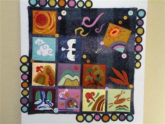 Ten Symbols of Longevity Penny Rug Quilt Pattern