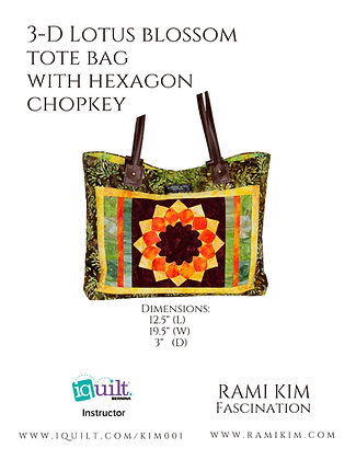 """3-D Lotus Blossom Tote Bag with Hexagon Chopkey"""