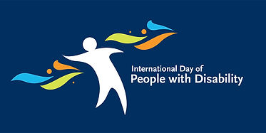 International Day of People with Disability Logo, a white outline of a person with coloured shapes on either side.