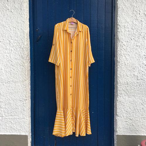 Kimono largo rayas mostaza