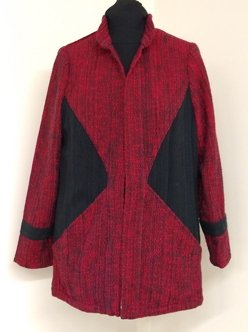 Red and Black Diagonal Block coat