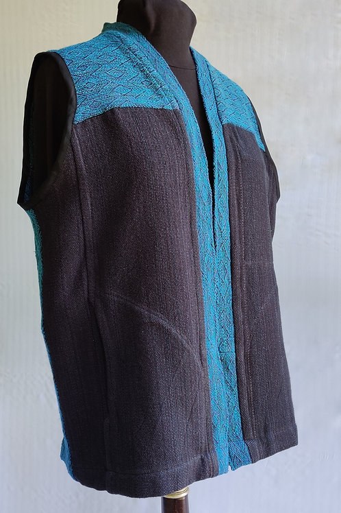 Dark teal and black vest