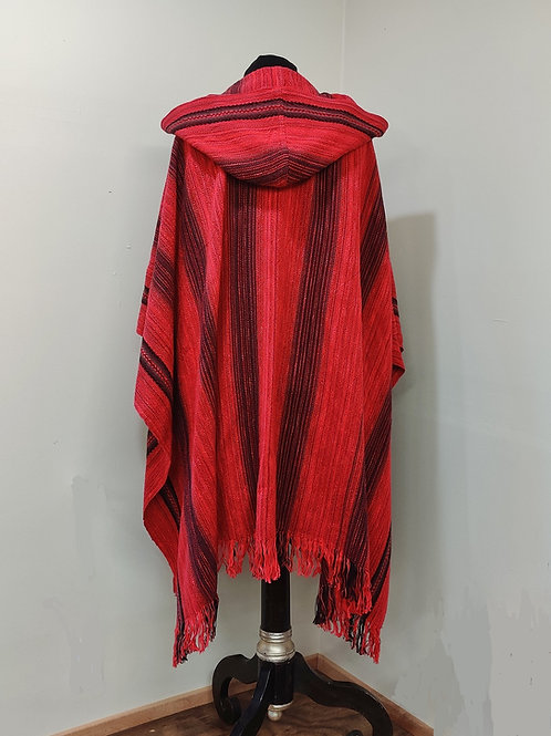 Red and Black Cotton Ruana