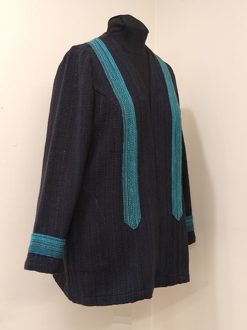 Black and Turquoise Band Coat