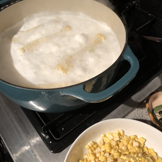 Salmon corn chowder in progress