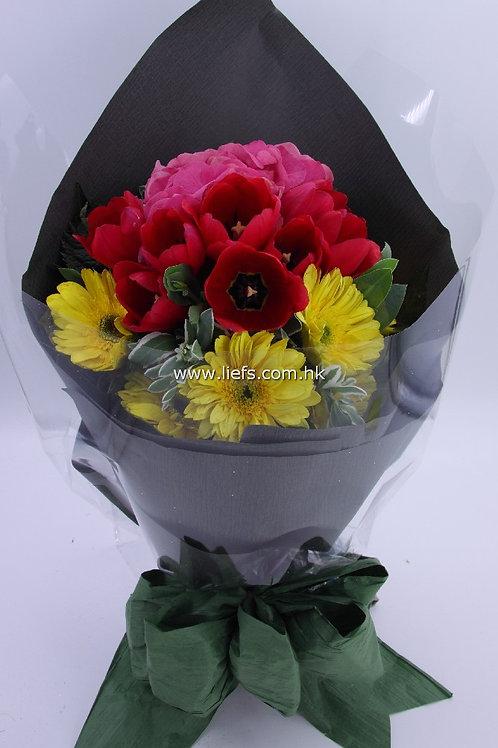 鏽球+屈金香+太陽花-花束-346